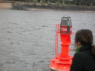 Fahrwasser-Tonne auf der Elbe, Hamburg-Teufelsbrück